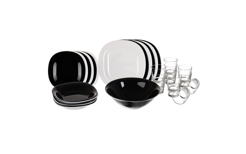 Luminarc Carine Set with 18 Plates in White and Black + 12 Glasses + 1 Bowl