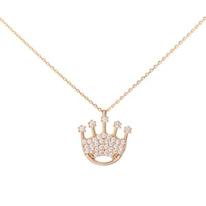 Italgold Gold Necklace with Crown Medallion