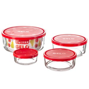 Bormioli Rocco Gelo Set of Red Food Containers with Airtight Lid